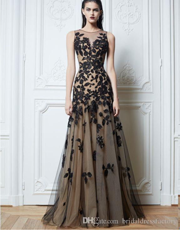 free shipping 2018 new design hot seller Long Black handmade Applique Evening Formal Prom Party Cocktail Dresses Wedding Gown