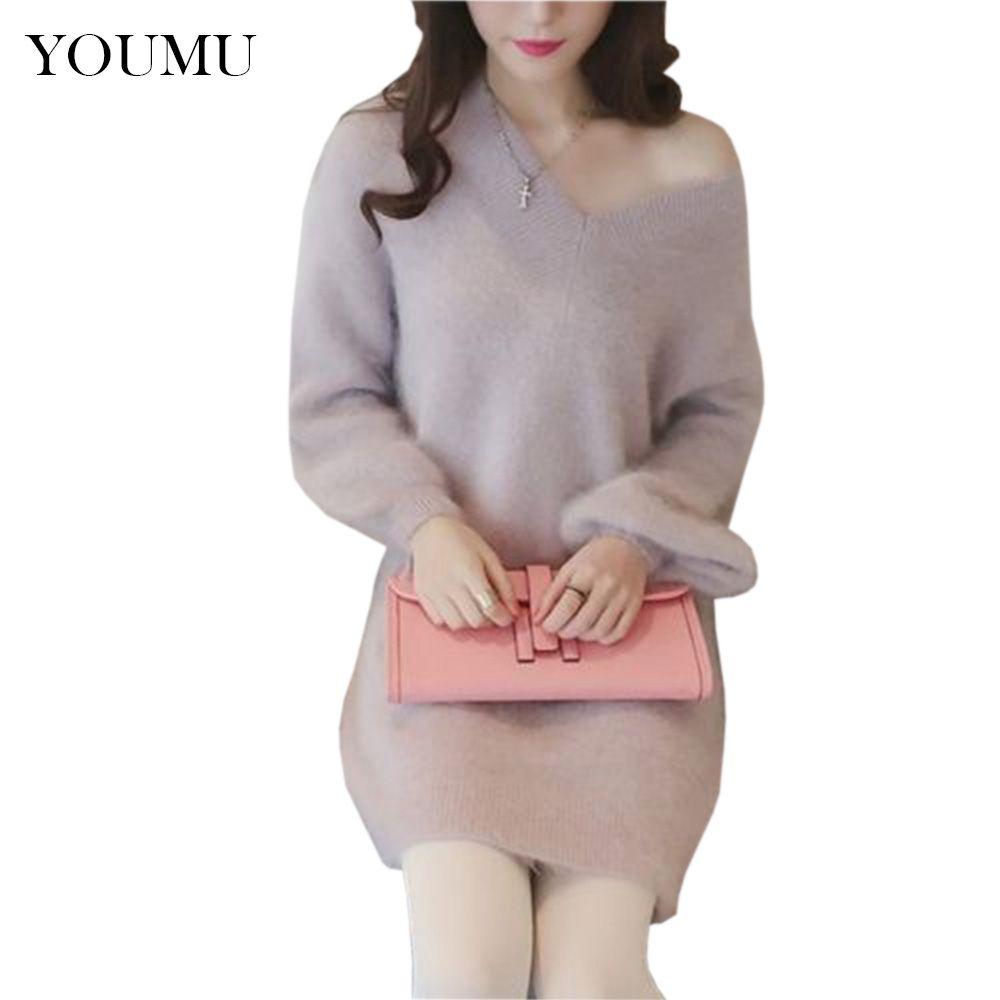 Signore maglione lavorato a maglia sottotuta manica lunga scollo a V allentato metà lunghezza sexy dolce top pullover casual maglione abbigliamento 906-160