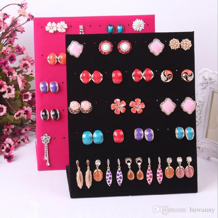 L Style Earrings Jewelry Stand Display Full Velvet Earring Showing Stand Storage Different Colors Show Shelf Wholesale Free Shipping 0726WH