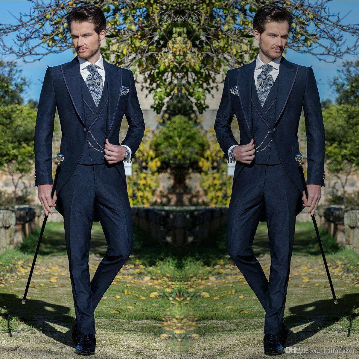 Custom Design Mens Suit Tre pezzi Smoking formale Slim Fit Business Groom Set per matrimoni Party Business Wear