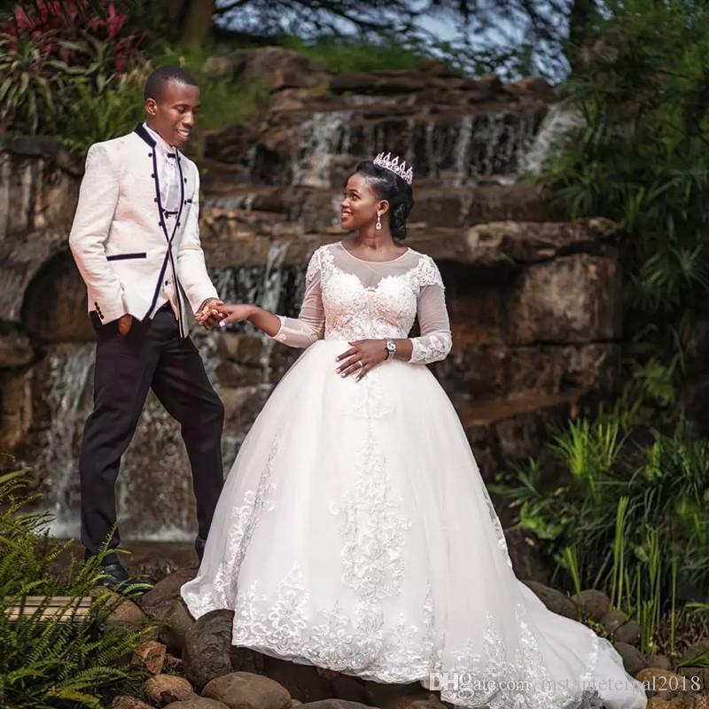 Abiti da sposa in pizzo sudafricano maniche lunghe sexy buco della serratura posteriore appliques abiti da ballo da sposa plus size abiti da sposa di maternità personalizzato pazzo