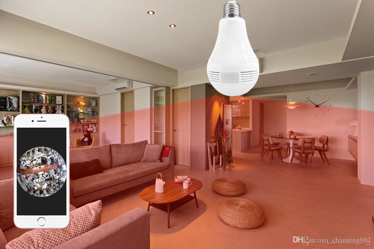 130 W Ampoule Lampe Sans Fil WiFi IP Caméra Panoramique FishEye Home Security CCTV Caméra Soutien 128 GB