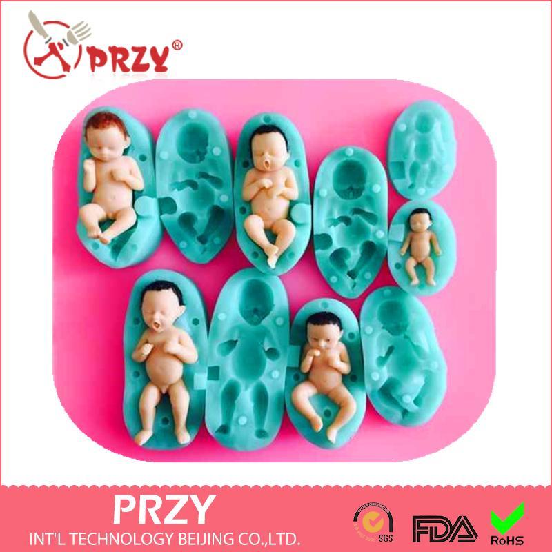 5 adet PRZY 3D Bebek silikon kalıp fondan silikon kalıp kek dekorasyon kalıp No.90123 aroma taş kalıpları
