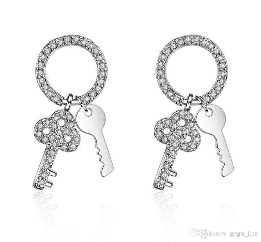 Slicer Farbe Blume Lock Key Form Ohrringe für Frauen