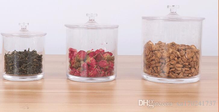 Snack alimentaire transparent en plastique peut trois pièces ensemble de pots en acrylique noix séchées en gros