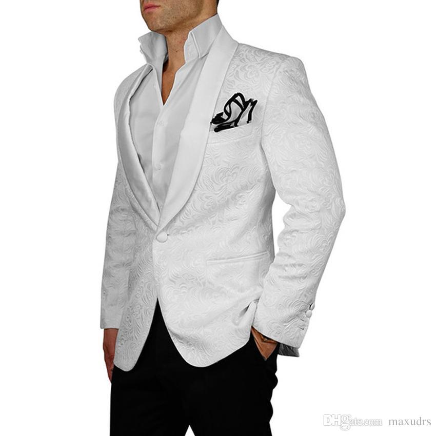 Nuovo arrivo Mens Abiti 2019 Bianco Smoking dello sposo dello sposo Slim Fit scialle Risvolto Abiti da uomo Abiti da sposa stampati (giacca + pantaloni neri)