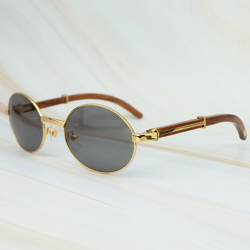 Round Metal Clasic Oval Sunglasses Full Frame Gold General Wood Glasses Men And Wen Eyewear Wefdl