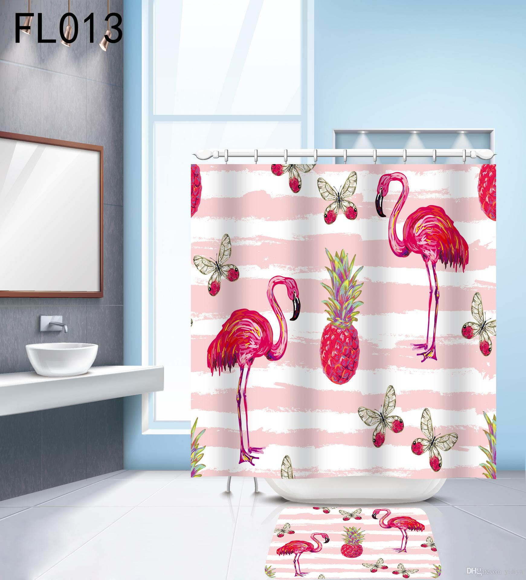 2019 Set Polyester Waterproof Fabric Shower Curtains Flamingo Printing Bath Curtain With 12 Hooks Shower Curtain Set Modern Bath Products From Yidiya