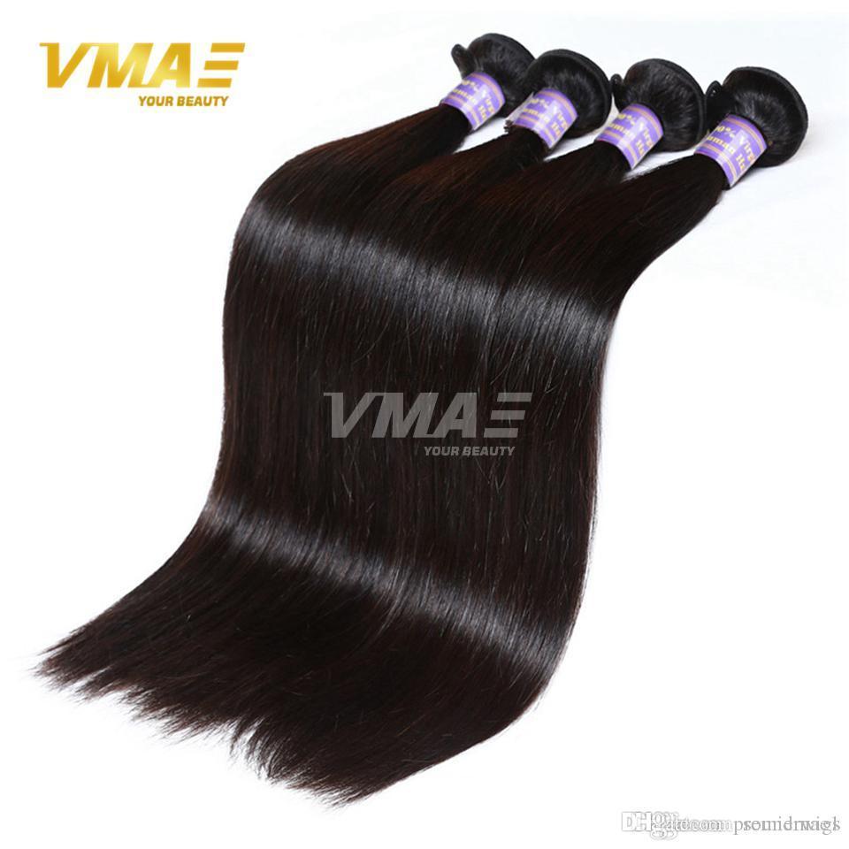 Pelo de Virgen Brasileño Recto 3 paquetes Lot Sin procesar el cabello humano Teje las extensiones de cabello virgen recto de VMAE CAMBODIAN