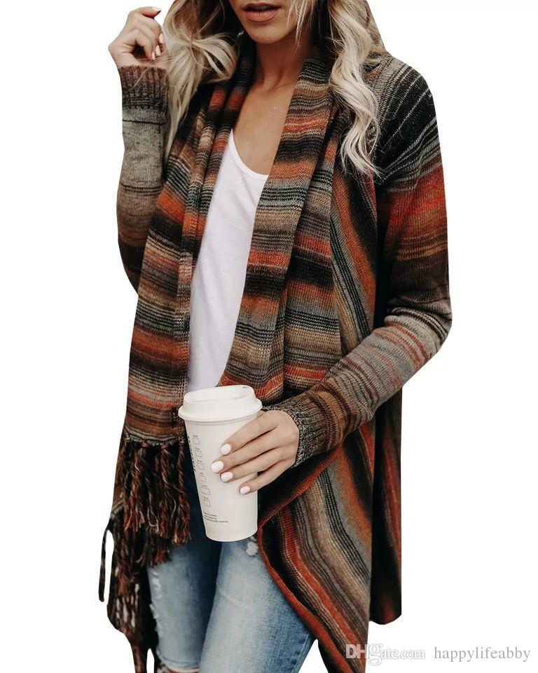النساء غير النظامية شرابة المعطف شريط serape سترة فضفاضة الكتف زر متماسكة البلوز أزياء نمط قميص بحروف