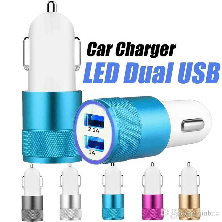 Top Quality Dual USB Port Car Adapter Charger Universal Aluminium 2-port Car Chargers USB For Samsung Galaxy S10 S9 S8 Plus Note 8 5V 1A