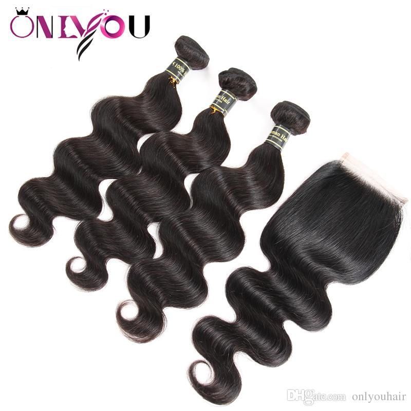 Связки 9А Индийский Объемная волна человеческих волос с Closure Оптовая цена Объемная волна утками человеческих волос Быстрая доставка Body Wave Top Vendor