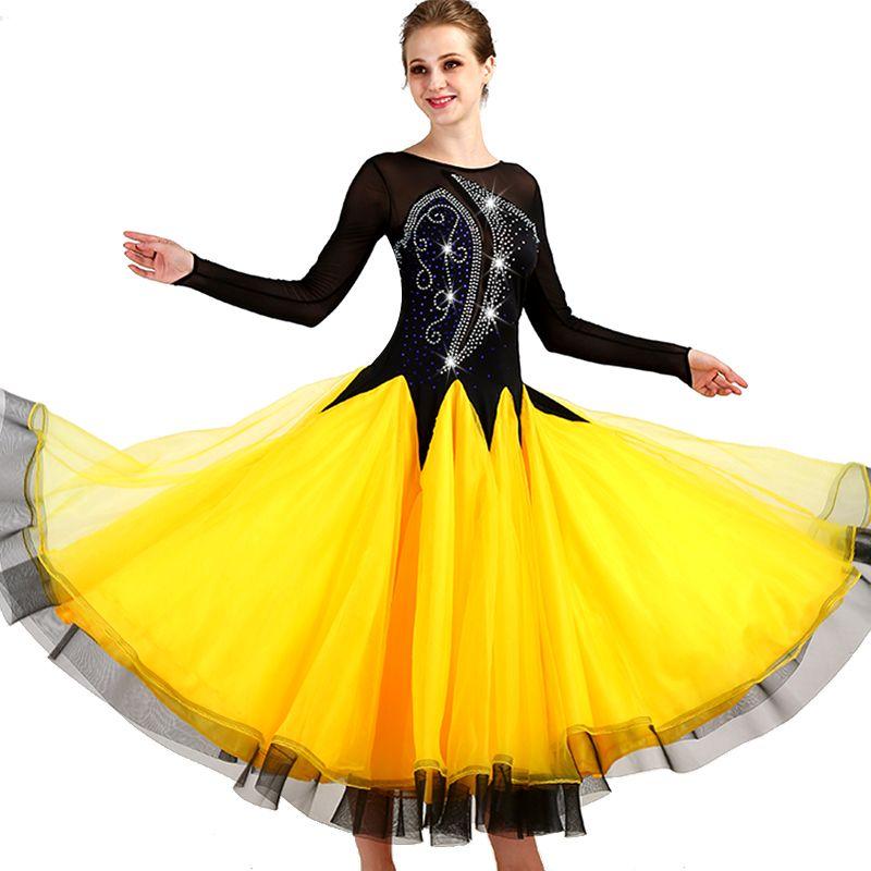 2019 Black+Yellow Waltz Ballroom Dance Competition Dresses For Women  Ballroom Tango Standard Dresses For Adults From Odelettu, $158.68