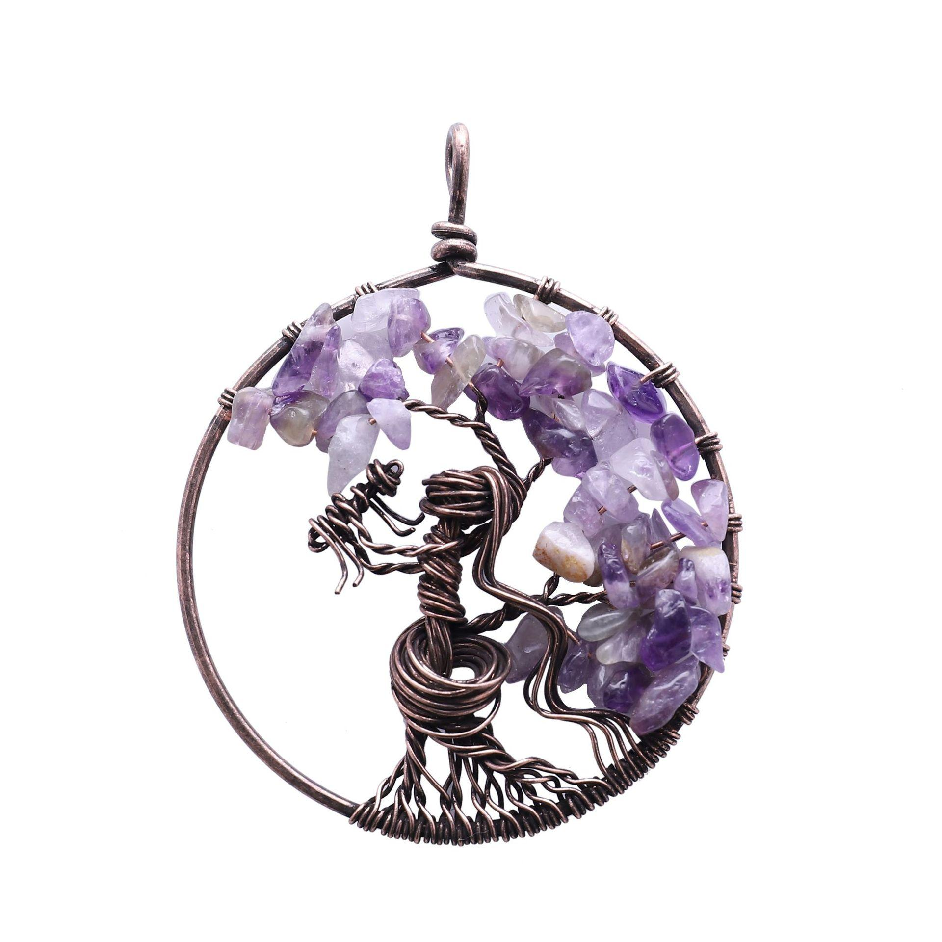 Natural Amethyst Tree of Life Reiki Chakra healing Copper Oval Pendant Necklace