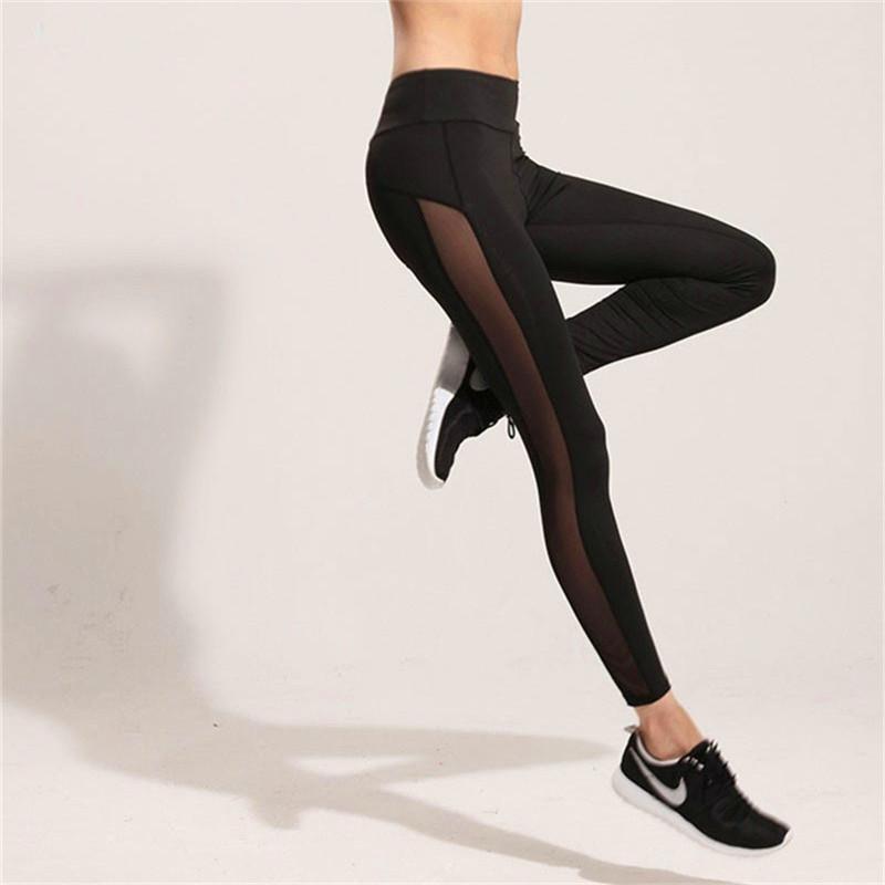 2017 Harajuku Leggings Casual femmes Mesh Splice Fitness Slim Noir Legging Vêtements de sport New Leggins Hot Body Para Mujeres