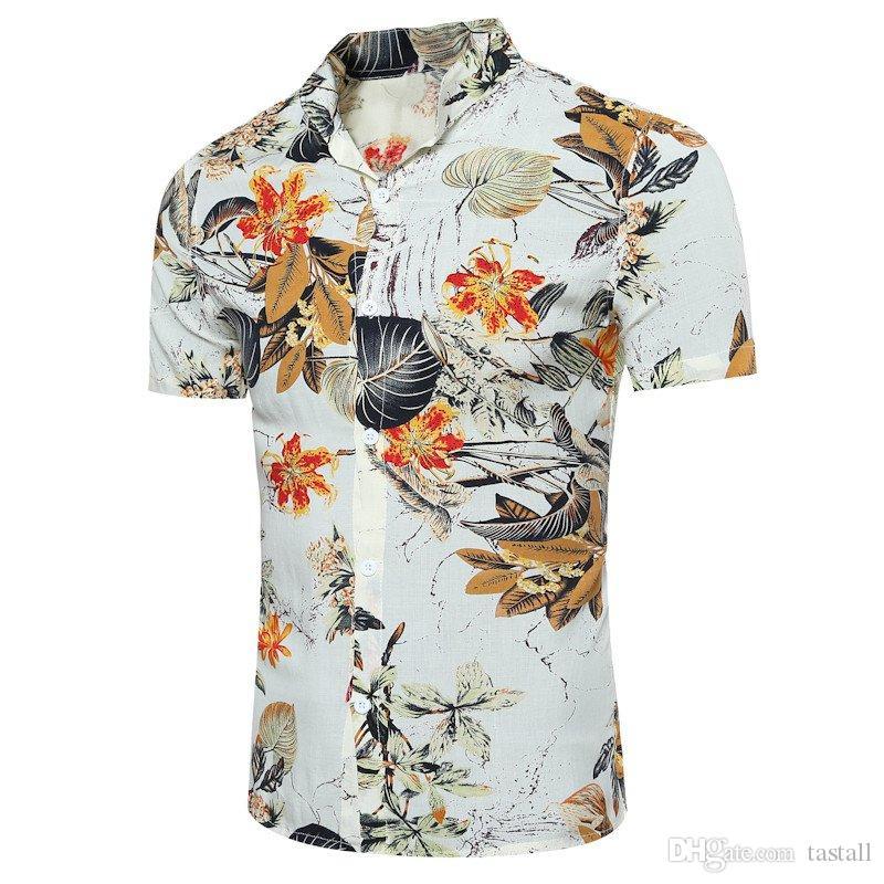 Mens Shirts Hot Fashion Short Sleeve Print Floral Shirt Men Slim Fit Buttons Men's Casual Hawaiian Shirt Camisa Masculina