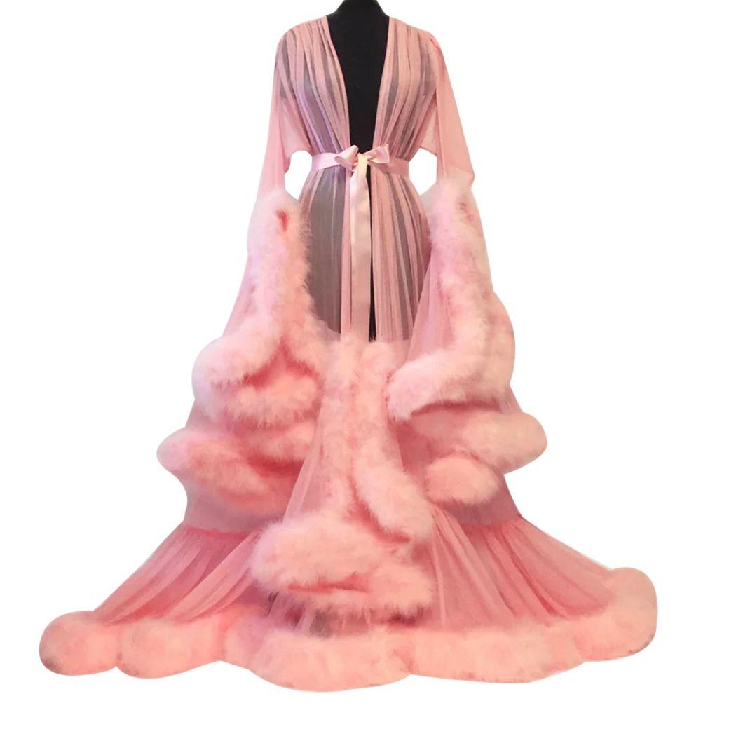 여성들이 섹시한 레이스를 통해 볼 수 있습니다 긴 맥시 드레스 푹신한 깃털 메쉬 드레스 관점 파티 바닥 길이 플레어 슬리브 드레스 A4