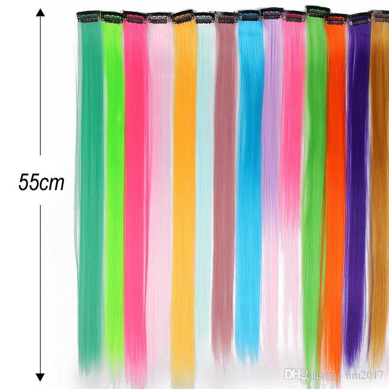 55cm 긴 직선 합성 내열 섬유 순수한 컬러 헤어 익스텐션 레드 핑크 퍼플 (19) 색상에 클립