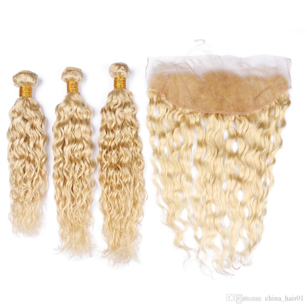 Mojadas y onduladas Rubia mechones de cabello humano brasileño con la onda de agua frontal # 613 Cierre frontal Rubio 13x4 cordón lleno con Tejidos 4pcs