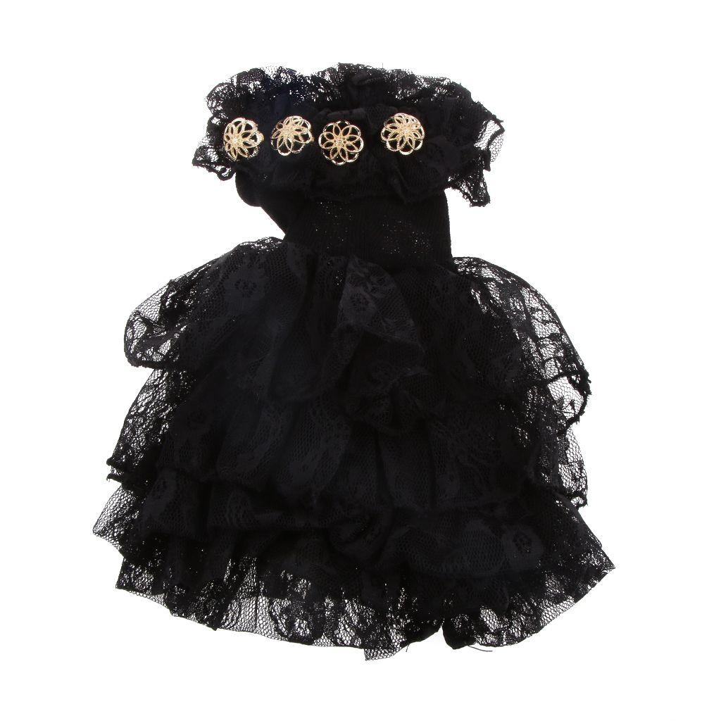 Bebekler Aksesuarları 1/4 BJD SD Bebekler Elbise Siyah Kapalı Omuz Parti kıyafeti Elbise Kız Çocuk Oyuncak Bebek Giysileri için Doğum Günü Hediye Toplamak