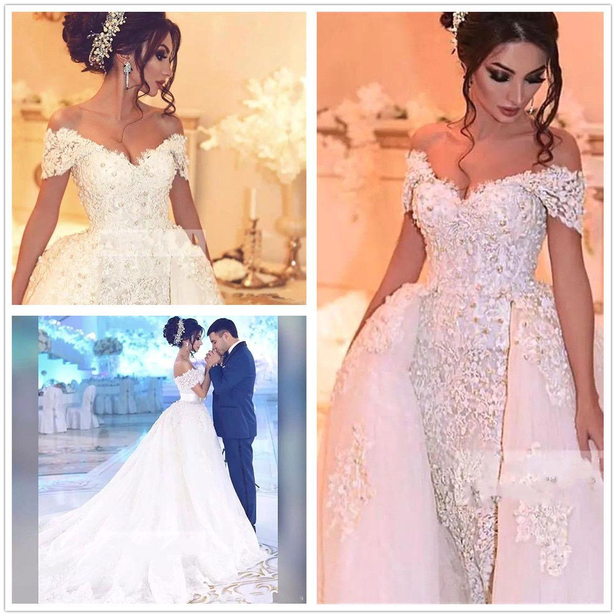 Vestidos de casamento de renda árabe fora do ombro apliques pérolas frisadas vestido de casamento saia destacável plus size vestidos nupciais robe de mariee