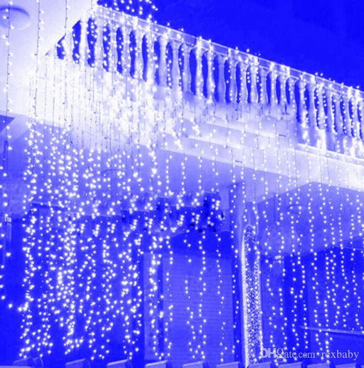 4.5M * 3M neues Jahr-Weihnachtsgirlande LED Schnur-Eiszapfen-feenhaftes helles Innenim Freien für Partei-Hochzeits-Vorhang-warmes Weiß / RGB / Blau