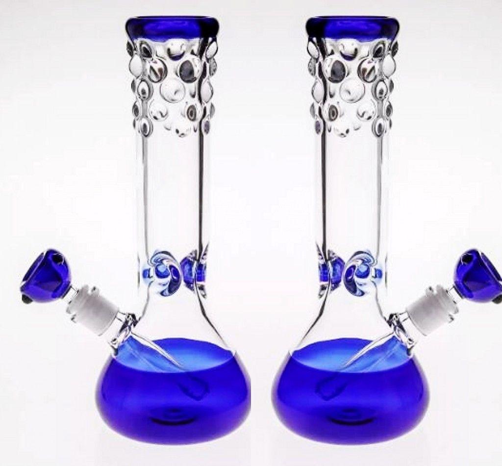 29cm Bleu Bongs En Verre Pas Cher En Ligne Percolato Fumer Pipe À Eau Main-Soufflant De L'huile Rigs Verre Bong Downstem bol Joint 14.4mm Narguilé