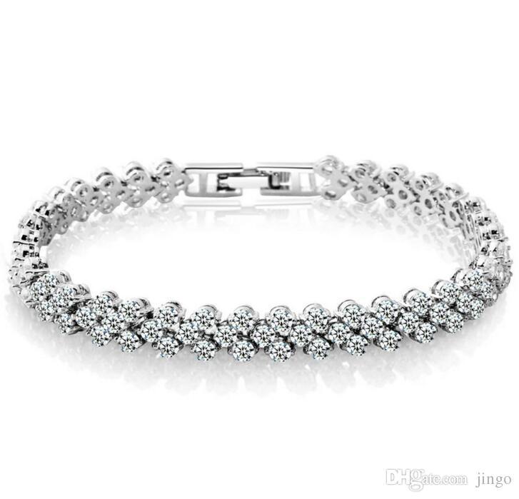 acheter en ligne 1d410 c2c19 Acheter DHL Argent Bracelet Romain Zircon Cristal Bracelet Femme Homme  Diamant Bracelets Accessoires De Mode De Luxe Cadeaux Saint Valentin De  $2.22 ...