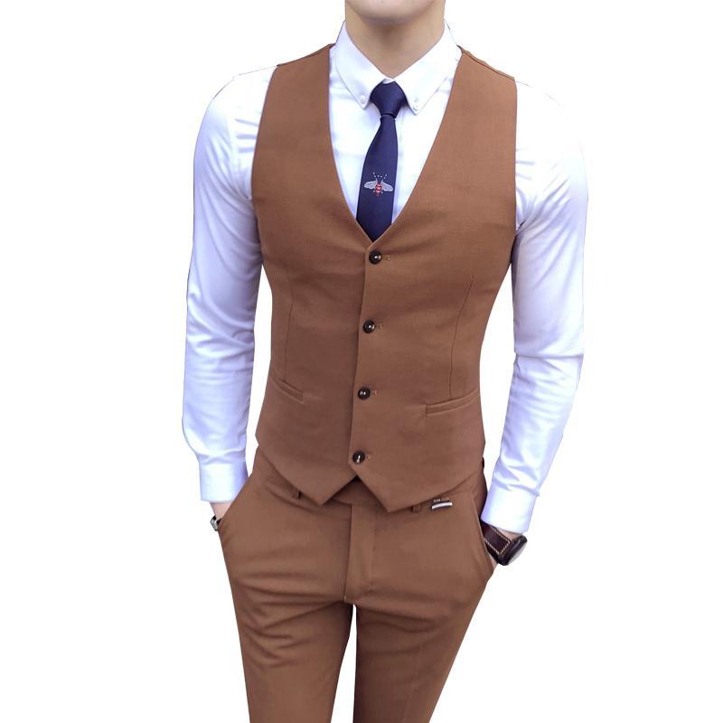 Color puro Traje de hombre Traje de color Negro Caqui Vino Rojo Moda Casual de negocios Chalecos Hombres Tamaño S M L XL 2XL 3XL