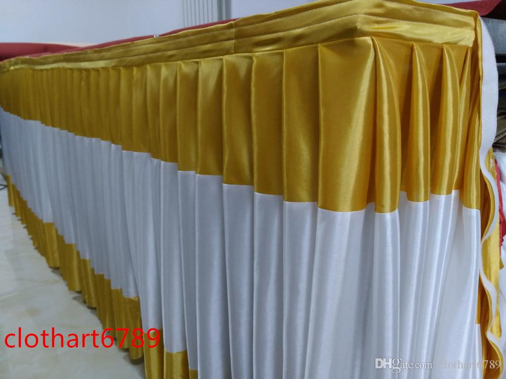 1.2M high table apron high density folds tablier table Shielding ice silk cloth baffle and table clip for free