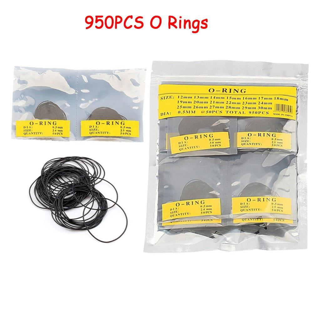 Yosoo 950pcs 0.5mm / 0.6mm 12-30mm Dia de goma del anillo o impermeable reloj parte posterior redonda de juntas de sellado de caucho arandelas Conjunto de herramientas de reparación de relojes