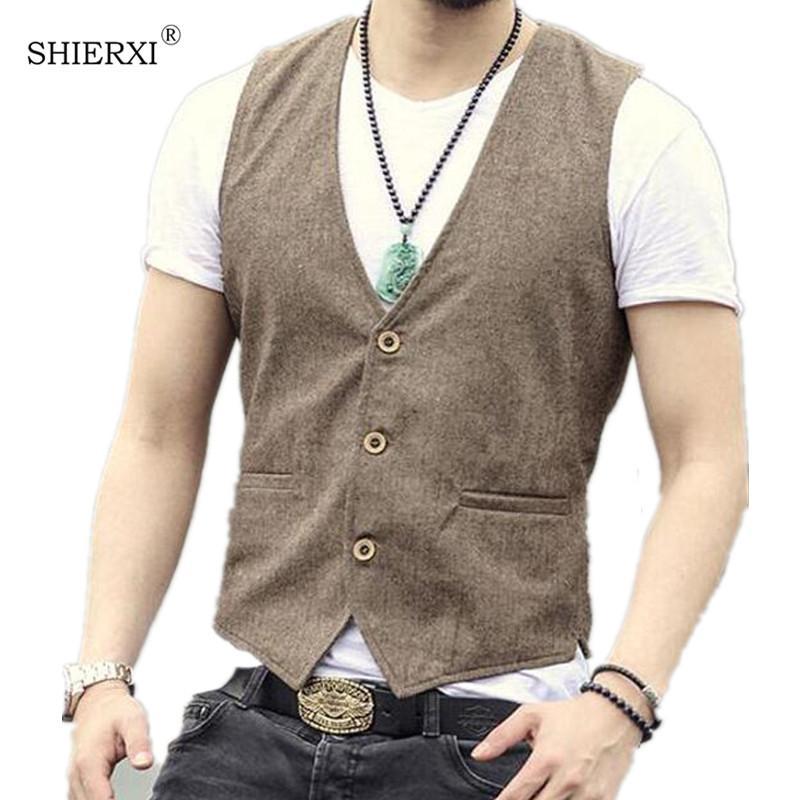 Мужчины одиночные грудью жилет мужские платья костюм жилет мужские кунчевые льняные жилет костюм Gilet Vest Slim деловая куртка топы Homme