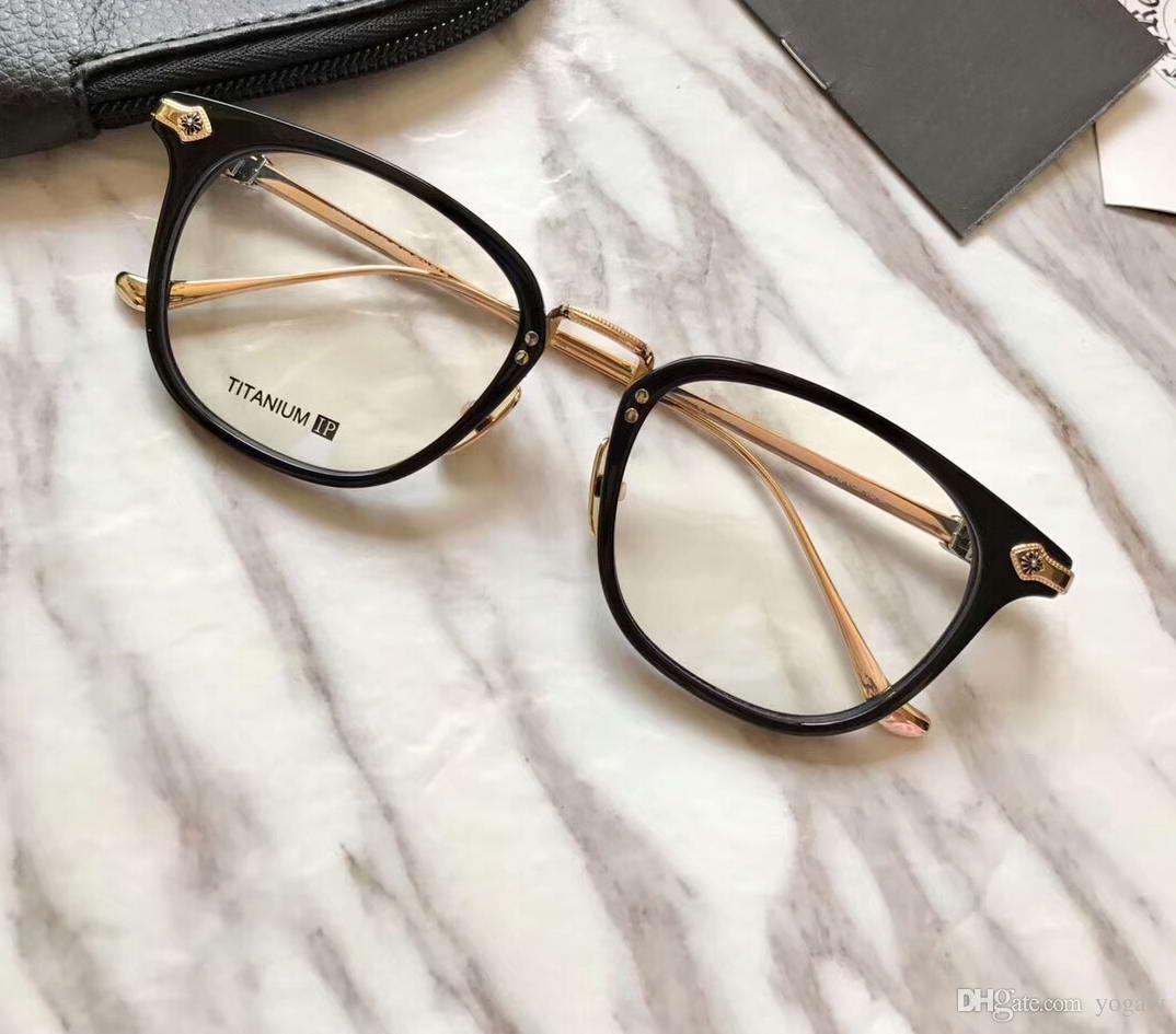Мужчины Black Gold Оптические очки очки кадров Мода Eyeglass площади Glasse очки Новый с коробкой