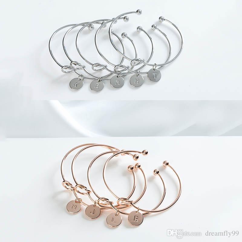 Fashion Silver Gold Jewelry English Letter A B C D E F G H I J K L M N O P Q R S T U V W X Y Z Bracelet Bangle