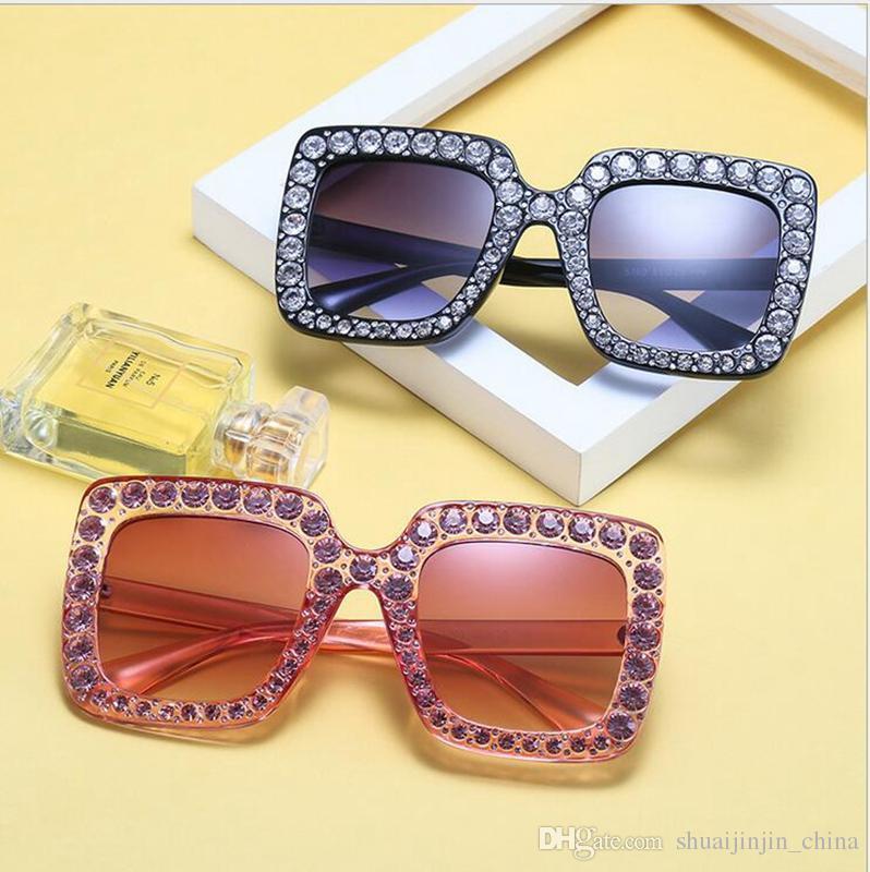 كبير الماس نظارات شمسية ملونة ساحة ljje9 ظلال النساء المتضخم النظارات الشمسية الرجعية الأعلى كريستال حجر الراين تريند