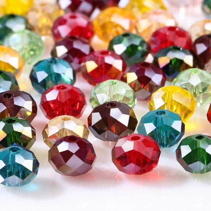 Rondelle Faceted Crystal Glass Loose Spacer Beads 6//8mm Wholesale 22 Colors