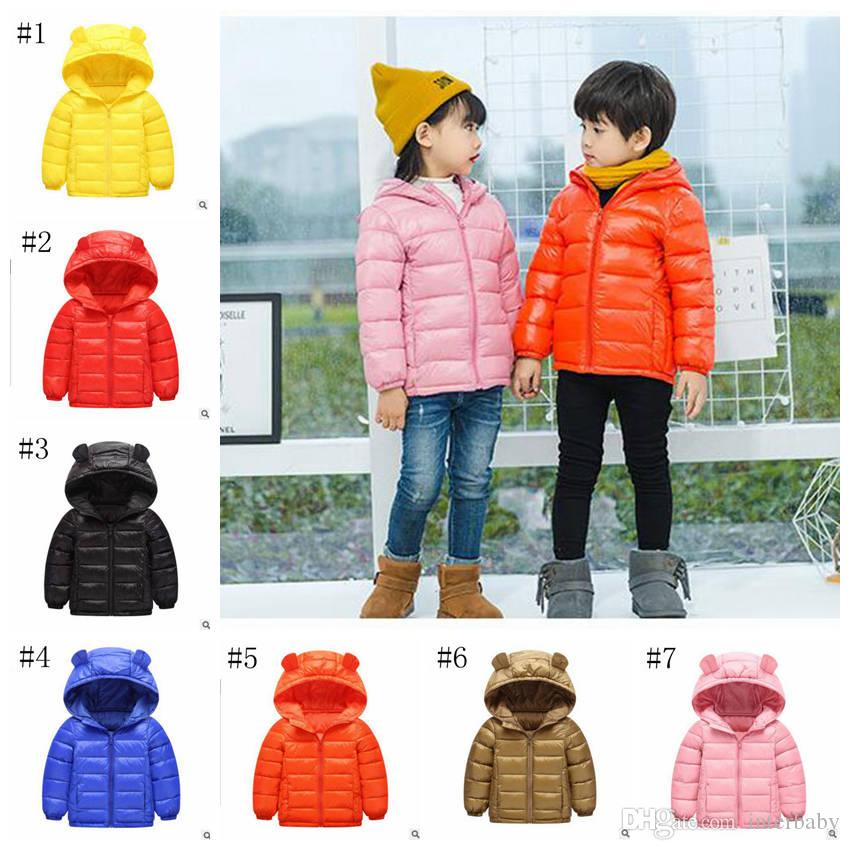 Kids Down Coat Boys Winter Hooded Outerwear Down Jacket Girls Long Sleeve Overcoat Designer Clothing Ski Wear Solid Cute Ear Clothes YL719