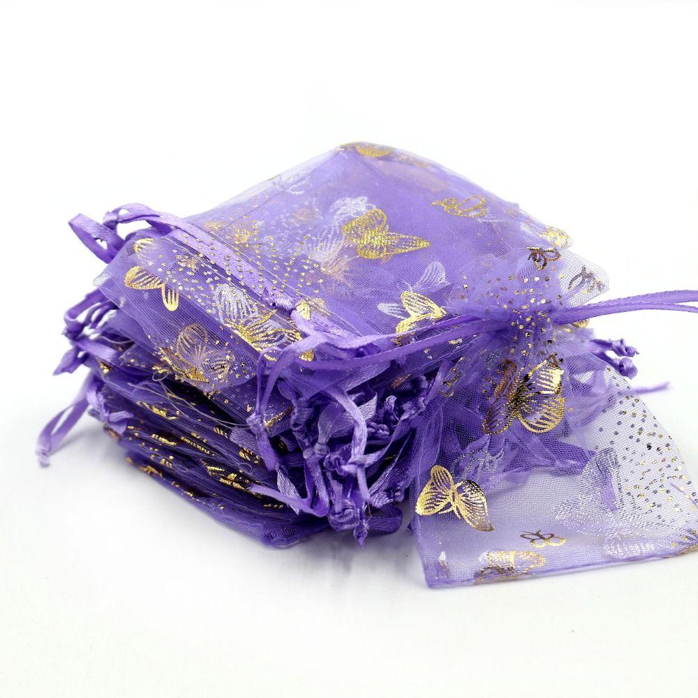 9x12cm púrpura de la mariposa bolsas de organza 50pcs / lot de tul de embalaje de regalo bolsas de embalaje de la joyería bolsas favor de la boda Caramelo Bolsas