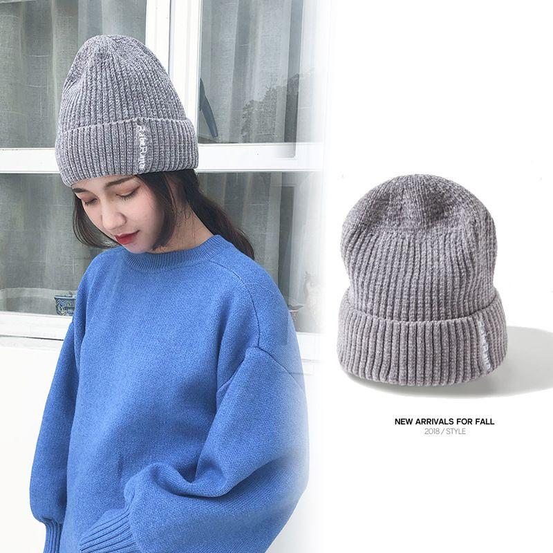 Herbst und Winter neue Strickmütze dicke warme Mütze Mode Kopf Hut Unisex lässig Katze