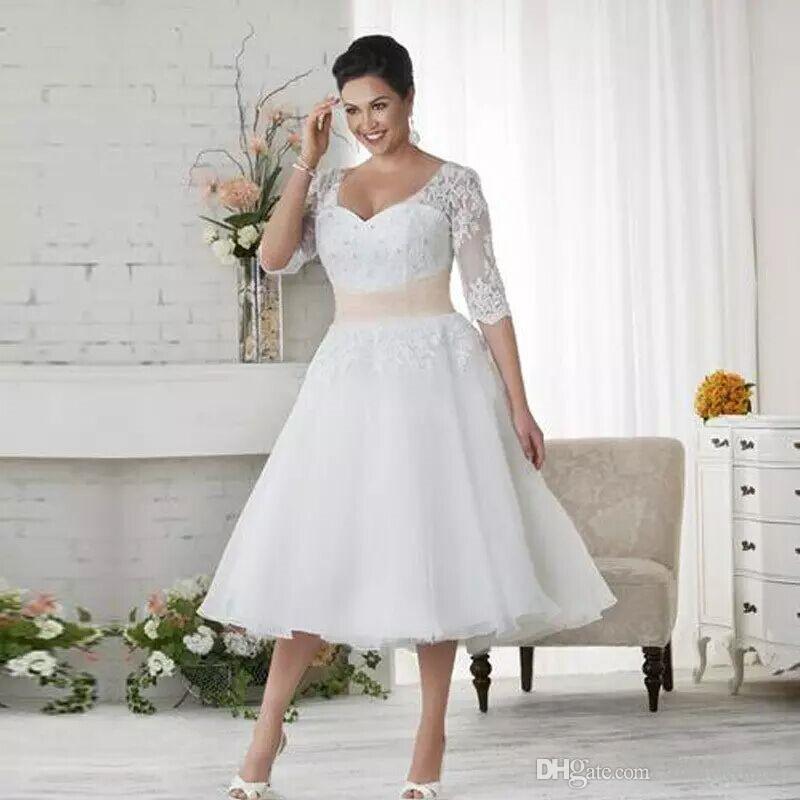 Vintage Plus Size Lace Wedding Dresses Cheap Summer Beach Garden Wedding Bridal Gowns Tea Length White Ivory Appliques Bridal Dresses