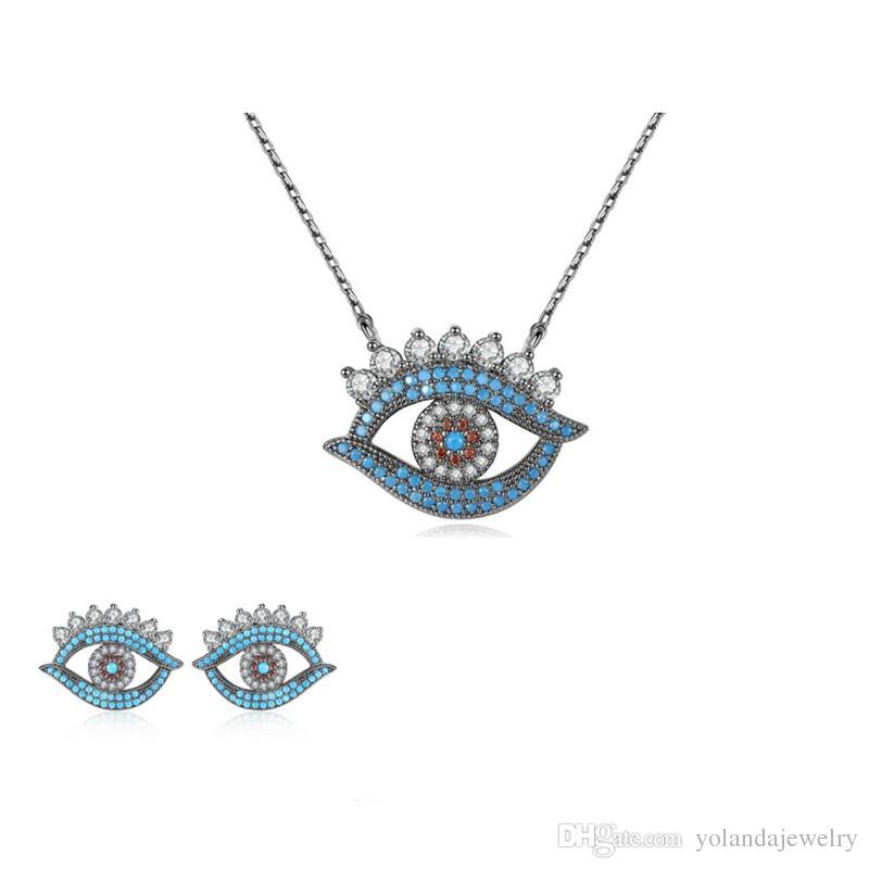 Europa i Ameryka Hotsale Kobiety Zestaw Biżuterii Czarny Pozłacane CZ Kąt Kąt Kolczyki Naszyjnik Zestaw Dla Dziewczyn Kobiet Dla Party Wedding