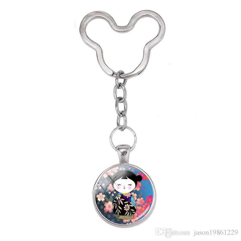 2019 New Design Japanese Kokeshi Keyring The Kimono Doll Mouse Keychain Glass Wristlet Key Rings Handmade Gifts for Men