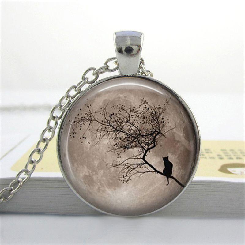 Luna Moth pendentif en verre noir cabochon Chaîne Collier Sautoir Pendentif Wholesale