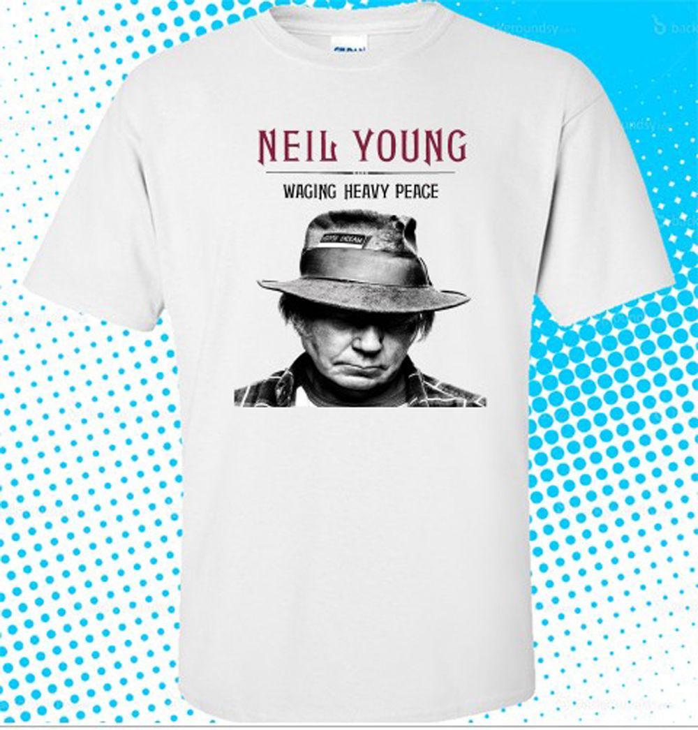 Nuevo Neil Young * Waging Heavy Peace camiseta blanca para hombre de tamaño S a 3xl manga corta de algodón de moda envío gratis