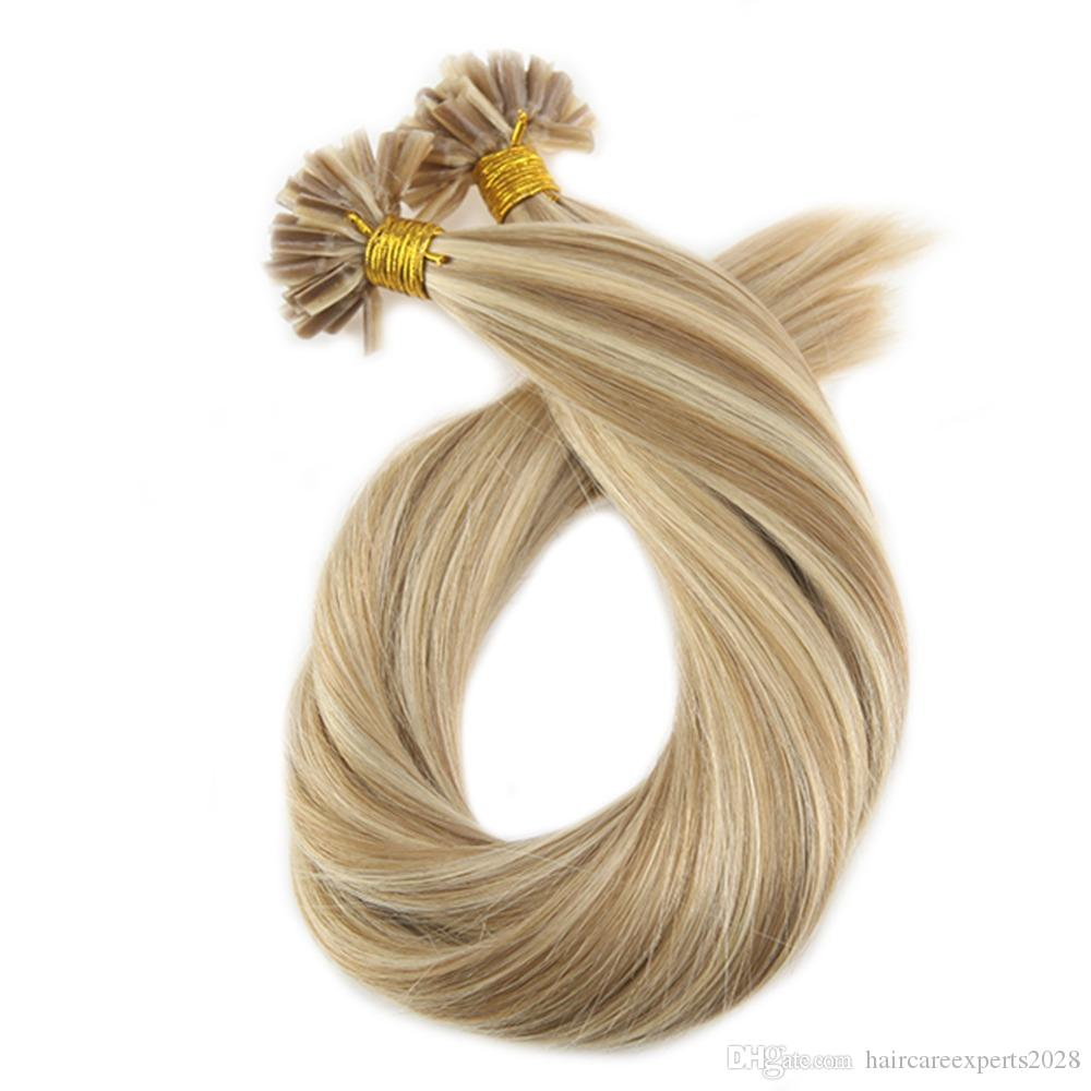 ELIBESS HAIR -Keratin Nail U Tip Extensions Color #14 Golden Blonde Highlighted with #613 Blonde Pre-bonded Hair 1g/s 100 Strands