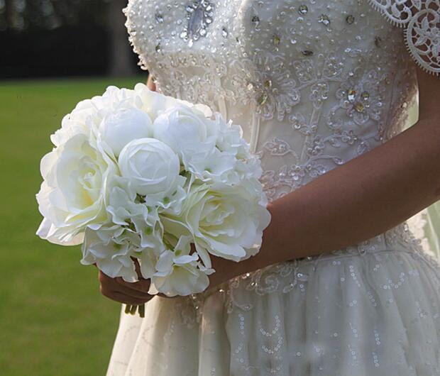 2019 El más nuevo Barato ramo de novia de muchos colores de la boda Flor de rosa artificial de alto nivel de la mezcla de China