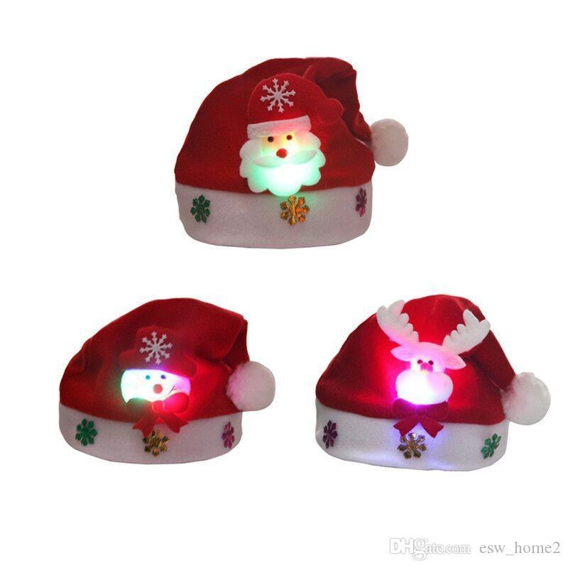 Niño LED Sombrero de iluminación navideña Papá Noel Reno Muñeco de nieve Regalos de Navidad Cap Noche Lámpara Iluminación Decoración