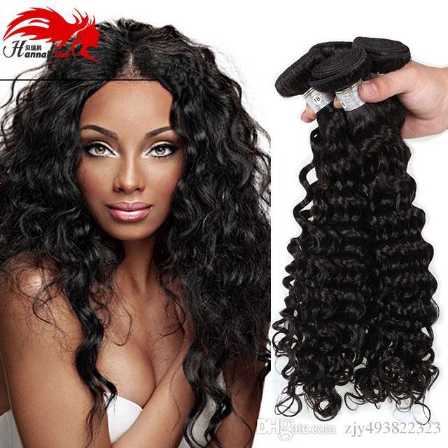 한나 브라질 딥 웨이브 100 % 미 가공 버진 브라질 헤어 번들 딥 컬리 인간의 머리카락 확장 자연 색상