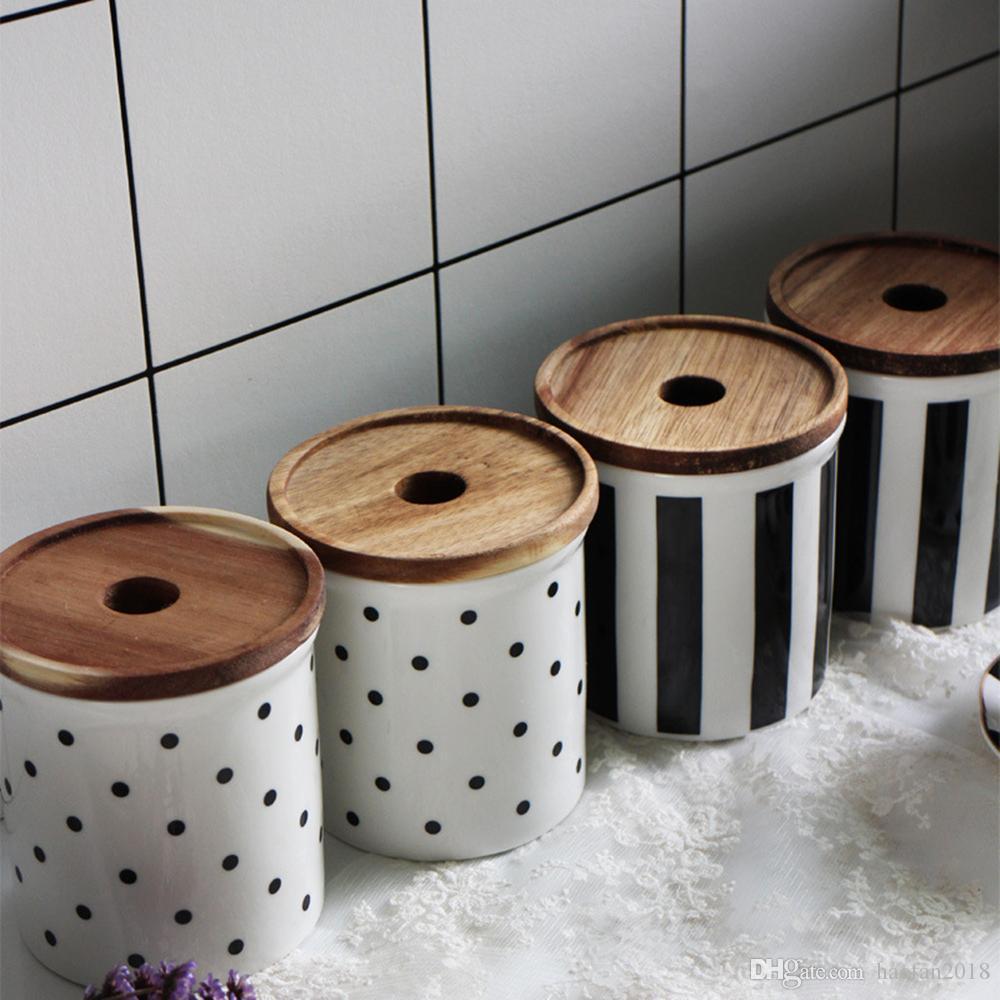 Frasco de almacenamiento de alimentos de cerámica con tapa sellada respetuosa con el medio ambiente, contenedor de recipiente de almacenamiento de alimentos de 585 ml / 20 oz para té, azúcar, nueces de grano de café