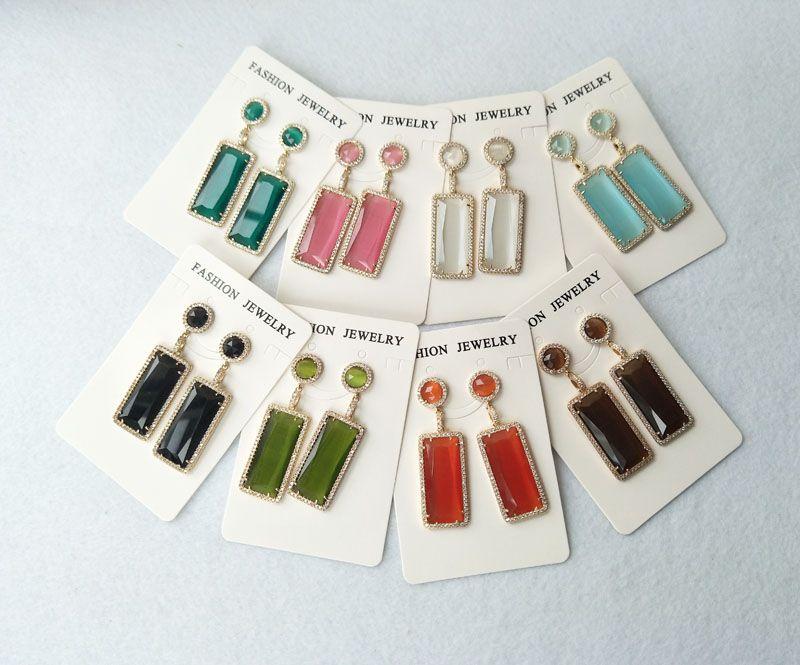Faceted opal Crystal Earring With Pave Zircon Dangle Earrings,Cat Eyes' Gem stone Earrings Jewelry Druzy ER399